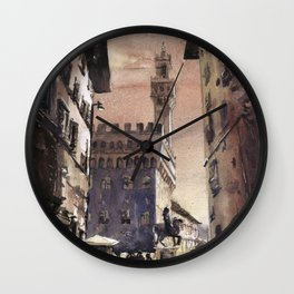 Watercolor painting of bell-tower of Palazzo Vecchio in the medieval city of Florence, Italy.   Wall Clock