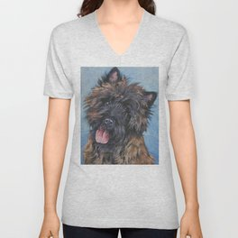 Beautiful Cairn Terrier from an original painting by L.A.Shepard Unisex V-Neck