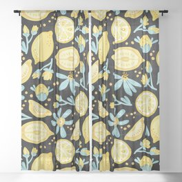 Lemon Pattern Black Sheer Curtain
