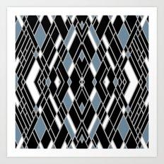 Art Deco Zoom Blue Art Print