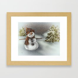 Happy Snowman In The Snow Framed Art Print