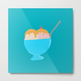 Ice Cream Sundae Turquoise Metal Print