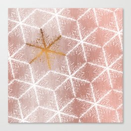 Elegant Geometric Gold Snowflakes Holiday Pattern Canvas Print