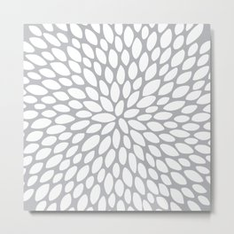 Floral Abstract Art, Gray and White, Design Prints Metal Print