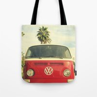 vw Tote Bags featuring VW Coastin' by RichCaspian