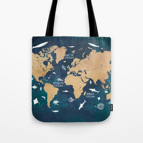 World Map Oceans Life blue Tote Bag