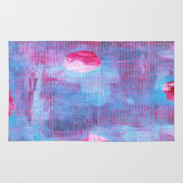 Crimson Clover, Abstract Monoprint Painting Rug