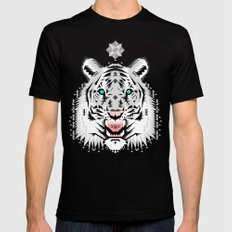 Silver Geometric Tiger Mens Fitted Tee Black SMALL