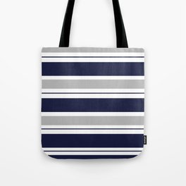 Navy Blue and Grey Stripe Tote Bag