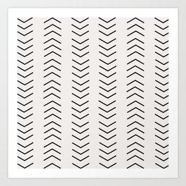 mudcloth pattern white black arrows Art Print
