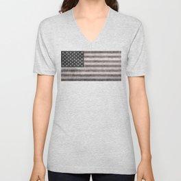 US flag in desaturated grunge Unisex V-Neck
