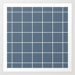 Grid pattern on blue gray Art Print