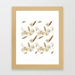 Golden Peacock Feather Pattern 16 Framed Art Print