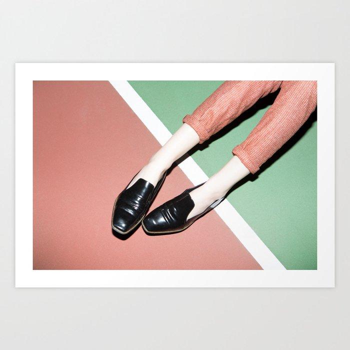 Legs on tennis court Art Print
