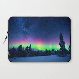 Aurora Borealis Over Wintry Mountains Laptop Sleeve