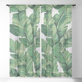Tropical banana leaves V Sheer Curtain