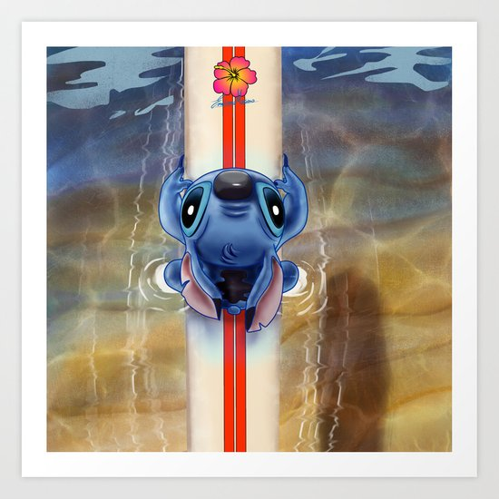 Waiting for the perfect wave...Stitch..^^ Art Print