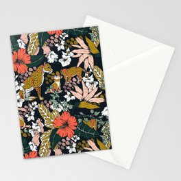 Animal print dark jungle Stationery Cards