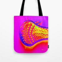 lacrosse Tote Bags featuring PINK LACROSSE HEAD by TMCdesigns
