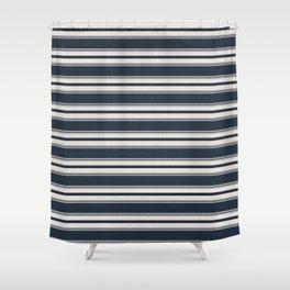 Classic Horizontal Stripe in Navy Shower Curtain