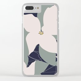 Leafy Floral Collage on Navy Clear iPhone Case
