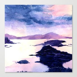 Watercolour Landscape Scotland Loch Lomond Canvas Print