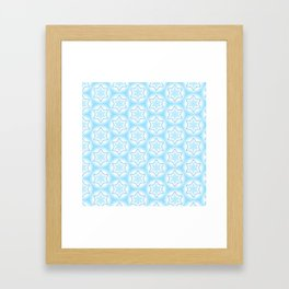 Shiny light blue winter star snowflakes pattern Framed Art Print