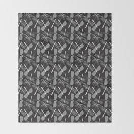 Dragonfly White and black Throw Blanket