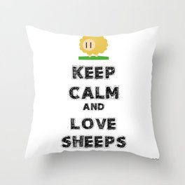 Keep calm and love sheeps Throw Pillow