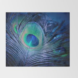 Peacock Feather Blush Throw Blanket