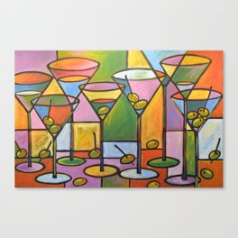 Abstract Art Wine Bar Alcohol Painting ... Martinis and Olives Canvas Print