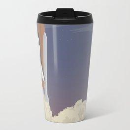 blast off launch pad Shuttle flies into space Travel Mug