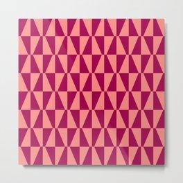Mid Century Modern Geometric 312 Coral and Raspberry Metal Print