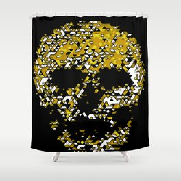 Geometric Mustard Yellow Skull Composed Of Triangles Shower Curtain