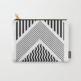 Geometric - Arrows, Black & White Striped Carry-All Pouch