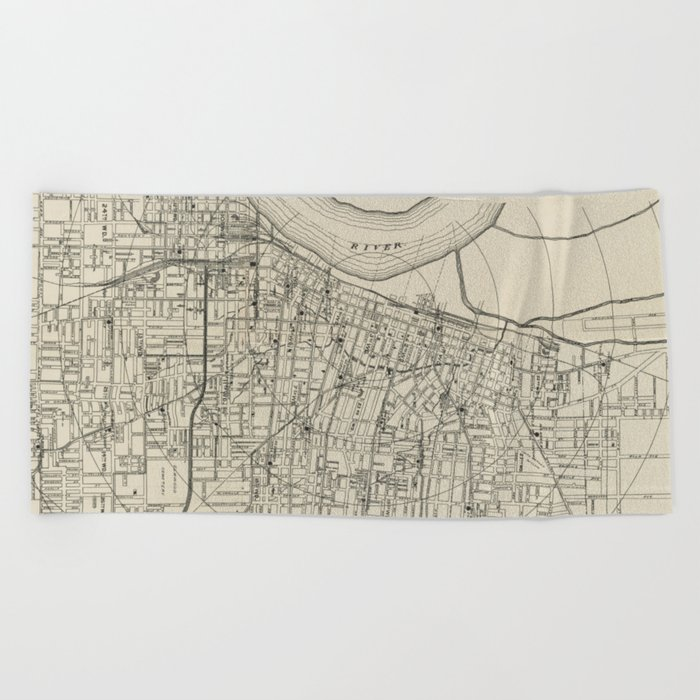 Vintage Map of Memphis Tennessee (1911) Beach Towel