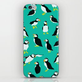 Puffins on Turquoise iPhone Skin
