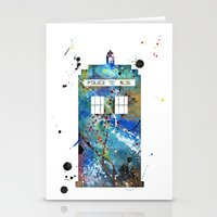 tardis Stationery Cards featuring Tardis by Beth Naeyaert