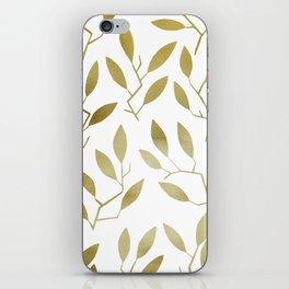 Leafy Twigs - Gold iPhone Skin