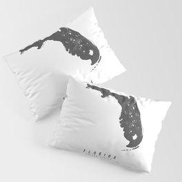 Florida Mono Black and White Modern Minimal Street Map Pillow Sham