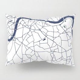 London White on Navy Street Map Pillow Sham