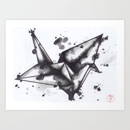 Ink Crane Art Print