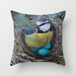 Blue Bird in Nest Throw Pillow