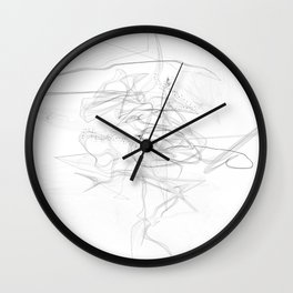 """""""Whatever, Oh Well"""" Black and White Abstract Design Wall Clock"""
