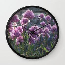 Wild chives flowering Wall Clock