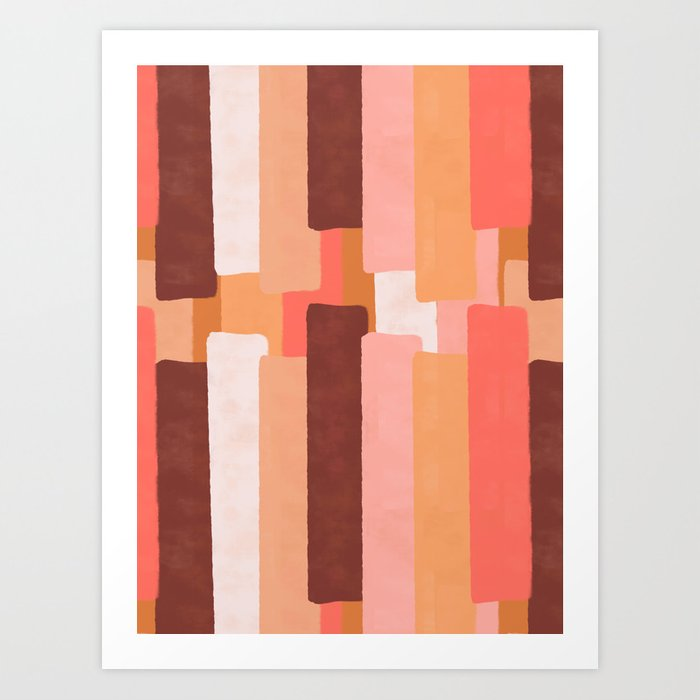 Line In Coral #society6 #abstractart Art Print