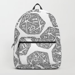 d20 - black and white icosahedron - automatic art pattern and print Backpack