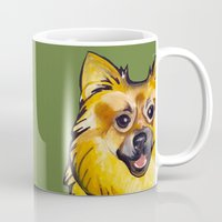 pomeranian Mugs featuring Molly the Pomeranian by Pawblo Picasso