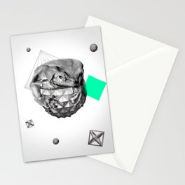 Zoological Serie: Resilience, Frog, cosmic, geometric, space, animal, green Stationery Cards