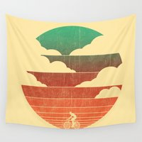 cycling Wall Tapestries featuring Go West (cycling edition) by Picomodi